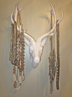 Deer head turned into jewelry hanger