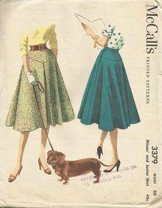 1950s Circle Skirt Flared Circular Yoked Skirt Front by kinseysue
