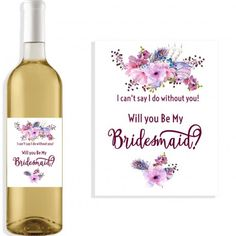 Custom Wine Label Stickers Will You Be My Bridesmaid Labels Maid - Bridesmaid wine label template