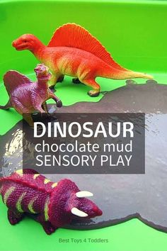 Edible sensory play with dinosaur chocolate mud sensory bin. Perfect for babies and toddlers who tend to put everything in their mouth. Dinosaur Activities, Dinosaur Crafts, Sensory Activities, Infant Activities, Learning Activities, Activities For Kids, Dinosaurs Preschool, Autism Sensory, Vocabulary Activities