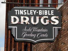 Tinsley Bible Drug Store neon sign by SeeMidTN.com (aka Brent), via Flickr (Soda Fountain Font on Davis Drug Sign)