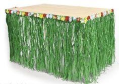 Table Skirt Green Grass w/Hibiscus Flower Wedding Beach Hawaiian Luau Tiki PARTY #LuauBeachParty