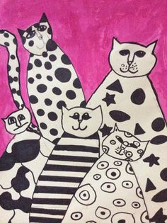 made by 4. graders. Art cats - how to