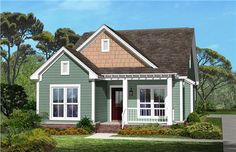 Our designers have done it again; this beautiful craftsman style house plan for narrow lots is full of character and charm. This home features 1300 square feet of fine living with a split plan, large open spaces, kitchen island, fireplace, oversized kitchen, huge master bath and closet, screened porch, and optional garage which allows for a rear or side entry.