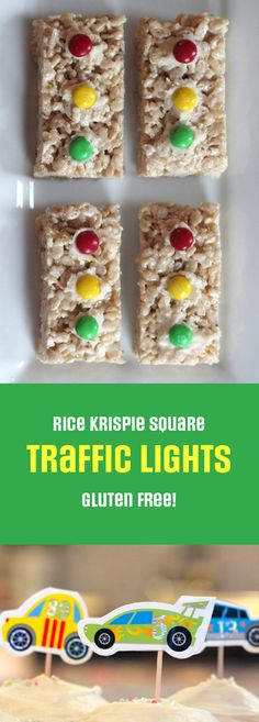 Rice Krispie Squares made to look like traffic lights for a race car themed birthday party.   Rosa Pearson @ FlutterFlutter.