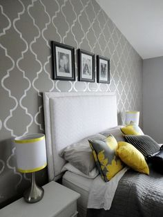 Accent wall gives me ideas for DIY artwork for my new room! Decoration Bedroom, Grey Room, Grey Bedroom With Pop Of Color, Home And Deco, Home Bedroom, Bedroom Ideas, Bedroom Designs, Bedroom Inspiration, Master Bedrooms