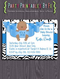 Printable Baby Shower Invitation ~ It's A Boy! Baby Shower ~ I90