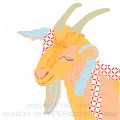 Click here to see my new work: The #Golden #Goat #Collage #Portrait 10x10 Wall Art by PAPERandKNIFE, $54.95