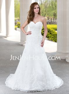Wedding Dresses - $186.99 - A-Line/Princess Sweetheart Court Train Tulle Wedding Dress With Ruffle Lace Beadwork (002000492) http://jenjenhouse.com/A-Line-Princess-Sweetheart-Court-Train-Tulle-Wedding-Dress-With-Ruffle-Lace-Beadwork-002000492-g492