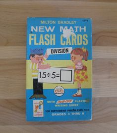 Entire box of vintage Math Flash Cards with contents, answer sheets, plastic…