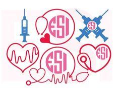 SVG Cutting Files Circle Frames Nurse Monograms Set