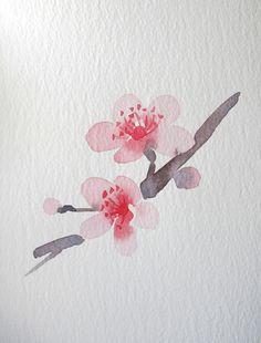 Watercolor cherry blossom branc by Wang Jing
