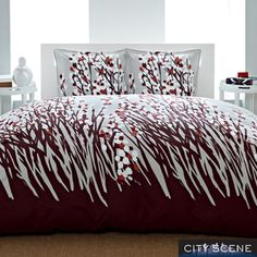 @Overstock.com - City Scene Spring Arbor 3-piece Duvet Cover Set - With perky flowers and a palette of brown and burgundy, this colorful contemporary duvet cover offers an affordable way to update your bedroom decor. The beautiful duvet has a simple button closure for easy installation of your comforter.  http://www.overstock.com/Bedding-Bath/City-Scene-Spring-Arbor-3-piece-Duvet-Cover-Set/7706962/product.html?CID=214117 $40.49
