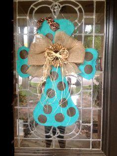Hand Painted Turquoise Burlap Cross Door Hanger by Disideas, $40.00