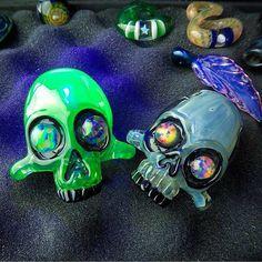 Bestofglass heady skulls by Pipe Maker AKM Glass