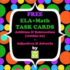 {Free} ELA & Math Task Cards - Addition & Subtraction / Ad