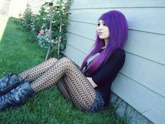 Great purple hair on this Goth girl
