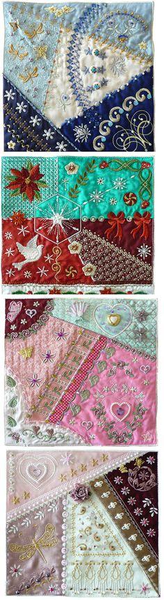 Ideas Crazy Patchwork Pillows Ribbon Embroidery For 2019 Crazy Quilting, Crazy Quilt Stitches, Crazy Quilt Blocks, Crazy Patchwork, Patchwork Pillow, Patchwork Ideas, Quilt Pillow, Sewing Machine Embroidery, Ribbon Embroidery
