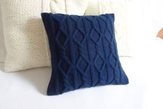 Custom Cable Knit Cushion Cover, Navy Blue Pillow Case,Throw Pillow, Decorative Knit Pillow, Couch Pillow, Knit Home Decor by Adorablewares on Etsy https://www.etsy.com/listing/202635856/custom-cable-knit-cushion-cover-navy