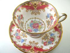 """Antique SHELLEY Tea Cup And Saucer, Pink Magenta and white tea cup and saucer, Shelley china """" Sheraton """" tea cup. by AntiqueAndCrafts on Etsy https://www.etsy.com/listing/233708871/antique-shelley-tea-cup-and-saucer-pink"""