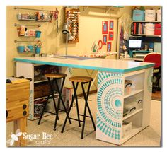 L shaped desk /craft room table for the front room austin