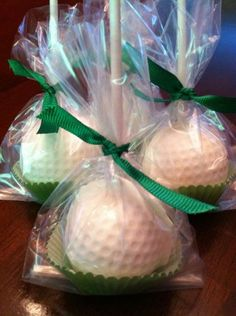 Golf Ball Wedding Cake Pop Favors, except make them tennis balls or keep them golf balls for the bachelorette party Golf Wedding, Beach Wedding Favors, Unique Wedding Favors, Wedding Shoes, Wedding Ideas, Wedding Bands, Golf Party Favors, Wedding Programs, Wedding Dresses