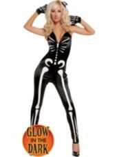 Glow in the Dark Sexy Skeleton Costume for Women - Party City. She's svelte, she's hot, and she's positively glowing! Our Glow in the Dark Sexy Skeleton Costume comes with stylized white bone print on a satin-like black sleeveless jumpsuit with a low-cut top and pant legs that taper slightly toward the ankles. Charge up, turn out the lamp, and do your luminous groove thang! Matching black fabric skeleton gloves and a skull hair bow pin complete the spooky impression. $40