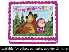Masha y el oso cumpleaños comestibles fiesta Cupcake galleta torta Foto Pastel, Cupcakes, Happy Birthday, Etsy, Cookies, Frame, Decor, Biscuit, Pastries