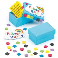 Prayer Box Craft Kits - Kids will love creating these boxes and placing their prayers inside. Each kit includes mini card box, self-adhesive foam decorations and instructions. Size 6cm x 4cm. Great for Christian and Sunday School craft activities.