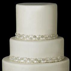 Elegance by Carbonneau Decorative Silver Clear Swirl Rhinestone Satin Ribbon HP 8362 Crystal Cake, Crystal Beads, Crystals, Clear Crystal, Bling Wedding Cakes, Rhinestone Wedding, Crystal Rhinestone, Wedding Decor, Wedding Ideas