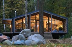 Beautiful cabin pops up in ten days with minimal landscape disturbance DublDom by BIO Architects – Inhabitat - Green Design, Innovation, Architecture, Green Building Cabin Design, Modern House Design, Green Building, Building A House, Building Costs, Modular Cabins, Small Prefab Cabins, Prefabricated Cabins, Prefab Cottages