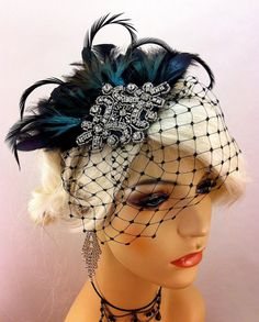 Great Gatsby, Downton Abbey, 1920s Flapper Headpiece, Gatsby Headpiece, Feather Fascinator, Rhinestone Silver Beaded Art Deco, Color Choice
