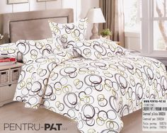 Lenjerie de pat bumbac satinat Casa New Fashion cu cercuri colorate Comforters, Satin, Blanket, Bed, Home, Stream Bed, House, Elastic Satin, Ad Home