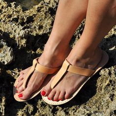 Olympian Greek Sandals of 100% natural leather, 100% handmade with rubber anti-slippery soles with little heel made exclusively in Greece, in
