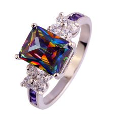 Wholesale Rainbow CZ Size 7 8 9 10  Plated Silver Rings Women Fashion jewelry Free Shipping