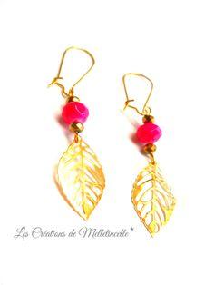 """Boucles d'oreille dorées """" Trés'Or d'Eté """" breloques filigranées dorées feuille ,perles dorées en verre et perles ovales abacus : Boucles d'oreille par les-creations-de-melletincelle"""