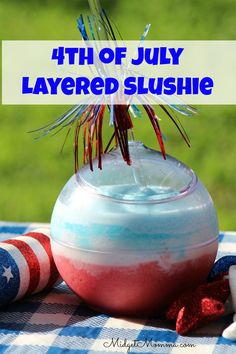 This layered slushie drink is made with fresh fruit and amazingly refreshing. Everyone will love this Fresh Fruit Layered Slushie Drink. The colors scream 4th of July but it is perfect for any summer day.