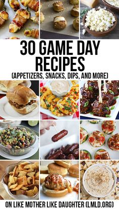 30 game day recipes - Thirty delicious game day recipes, from appetizers, snacks, dips, and sliders that will make game day perfect!