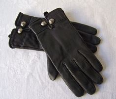 Vintage Leather Gloves Black Leather Cashmere by CynthiasAttic