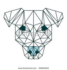 POLYGON ANIMAL PET DOG LINE POLYGONAL ICON LOGO TEMPLATE