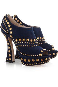 For Sale - Miu Miu-Prada Studded Peep Toe Ankle Bootie in Blue Suede Studded Ankle Boots, Ankle Booties, Heeled Boots, Bootie Boots, Shoe Boots, Studded Heels, Suede Booties, Suede Shoes, Shoes Heels