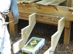 Learn how to build steps for your porch or deck using an instructional guide, video and tips. We show you how it's done so you can assess your own skills and to see what is involved in the step building process Front Porch Stairs, Deck Stair Railing, Front Door Steps, Front Doors, Wooden Steps Outdoor, Outdoor Stairs, Outdoor Ideas, Outdoor Stuff, Outdoor Projects