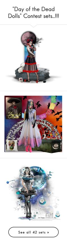 """""""""""Day of the Dead Dolls"""" Contest sets...!!!"""" by catyravenwood ❤ liked on Polyvore featuring картины, Dayofthedead, sugarskull, MerlotHuesDolls, diodelosmuertos, мода, Swarovski, OPI, NOVICA и DiaDeLaMuerte"""