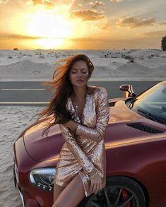 Oh My Dress, Woman In Car, Looks Hip Hop, Best Photo Poses, Long Dark Hair, Glitter Dress, Beautiful Women Pictures, Foto Pose, Car Girls
