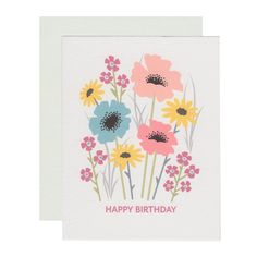 WILDFLOWER BIRTHDAY greeting card Floral birthday cards, feminine birthday, garden party, modern abstract flowers