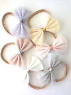 Sparkle Tulle Bows - Neutrals - Tulle bow headbands, Tulle bow hair clips…
