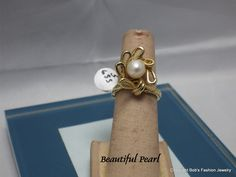 14 Kt Gold Fill Setting with Genuine Pearl by BobsFashionJewelry on Etsy