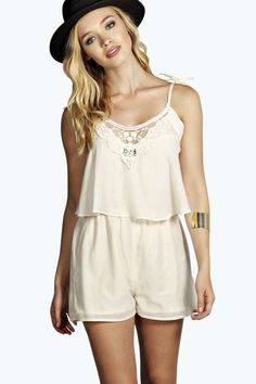 June Embroidered Strappy Cami Playsuit alternative image