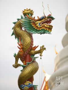 Chinese Dragon, Golden Mount, Wat Saket Temple, Bangkok, Thailand Photographic Print by Russell Young - Tattoo Ideas Chinese Zodiac Dragon, Chinese Dragon Tattoos, Dragon Tattoo For Women, Dragon Tattoo Designs, Russell Young, Cosplay Steampunk, Dragon Dance, Year Of The Dragon, Dragon Jewelry