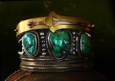 three bracelets. Art Nouveau Gold Filled, Turquoise Matrix Cuff  and Etruscan Gold Filled Bracelet
